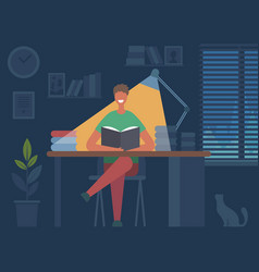 reading book hobbies man sitting at table and vector image