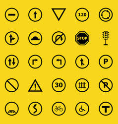 road sign color icons on yellow background vector image