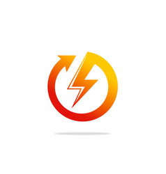 Round arrow light bolt danger logo vector