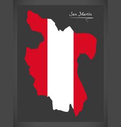 San martin map with peruvian national flag vector