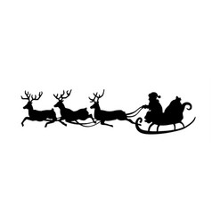 santa claus is riding in a sleigh with a cart of vector image