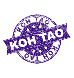 Scratched textured koh tao stamp seal vector