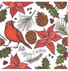 seamless pattern with colored cardinal cones vector image