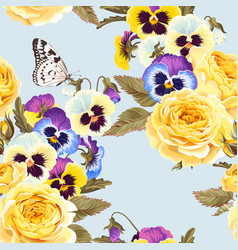 seamless pattern with yellow roses and pansies vector image
