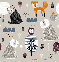Semless woodland pattern with cute bear hedgehog vector