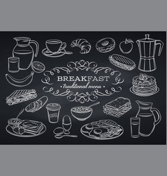 set breakfast icons on chalkboard vector image