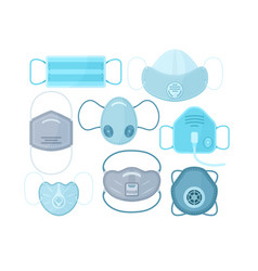 set different medical masks vector image