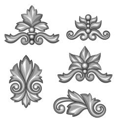 Set of baroque ornamental antique silver scrolls vector