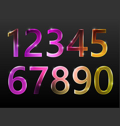 set of numbers neon glow sparkling vector image