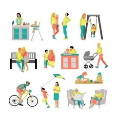 Set of people in situations at home and vector
