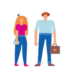 Set two people team in casual wear standing vector