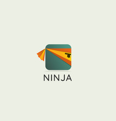 side view ninja face logo icon vector image
