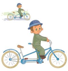 Small boy ride retro bike vector