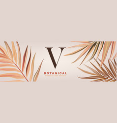 soft palm leaves in beige color with logo design vector image
