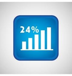 statistics in square button isolated icon design vector image