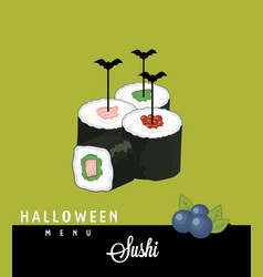 sushi halloween menu vector image
