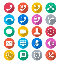 Telephone flat color icons vector image