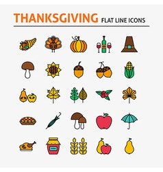 Thanksgiving Day Colorful Flat Line Icons Set vector image