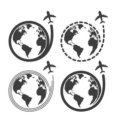 travel set icons with airplane fly around the eart vector image