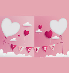 Valentine greeting card has 2 die-cuts on left and vector