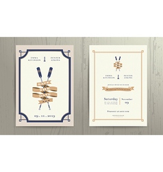 Vintage nautical twin paddles ribbon wedding vector image