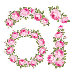 vintage wreath flowers over white background vector image
