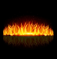 Wall of fire with weak reflection on black vector