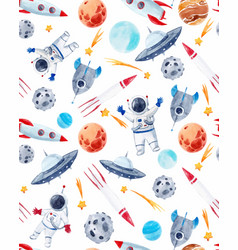 Watercolor space baby pattern vector