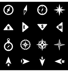 White compass icon set vector