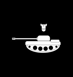 White icon on black background tank and mortar vector