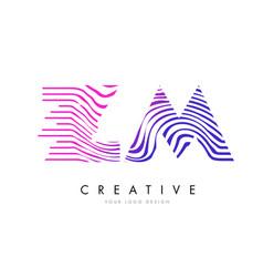 Zm z m zebra lines letter logo design with vector