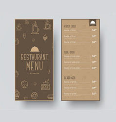 design of a narrow menu for a restaurant or a vector image