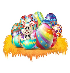 Easter eggs with an Easter bunny vector image