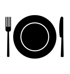 fork knife and plate vector image vector image