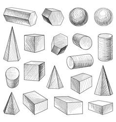 geometric shape figure set engraving retro object vector image vector image