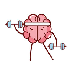 icon adorable kawaii brain doing exercise vector image