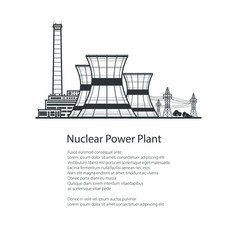 nuclear reactor and power lines brochure design vector image