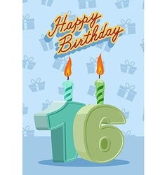 Birthday candle number 16 with flame vector image