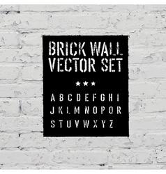 brick wall and stencil alphabet set vector image