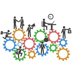 business people teamwork on mechanism gears vector image vector image