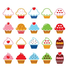 Cupcake with heart cherry and sparkles cute icons vector image