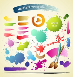 Paint brush colorful watercolor collections backgr vector image vector image