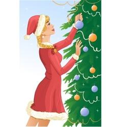 Santa girl decorates a christams tree with balls vector image