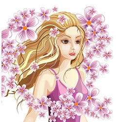 Beautiful blonde girl in a wreath of flowers vector