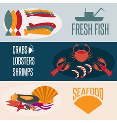 flat design banners with seafood theme vector image vector image