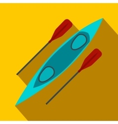 Kayak and rowing oar flat icon vector image vector image