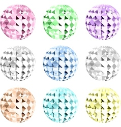 Set colorful crystal on black space vector image
