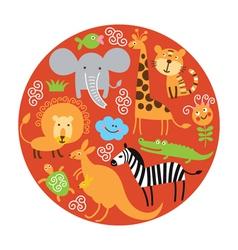set of animals in round vector image