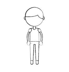 Sketch draw cute boy cartoon vector