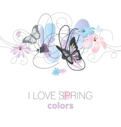 Artistic spring floral card in pastel colors vector